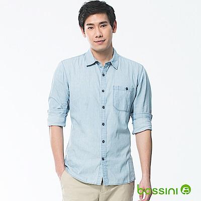 bossini男裝-牛仔長袖襯衫01淡靛藍