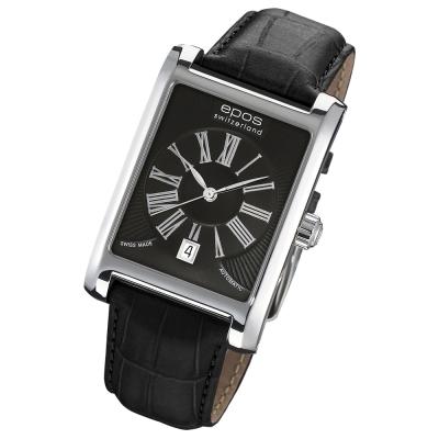 EPOS 紳士風範經典皮帶腕錶-黑/32mm