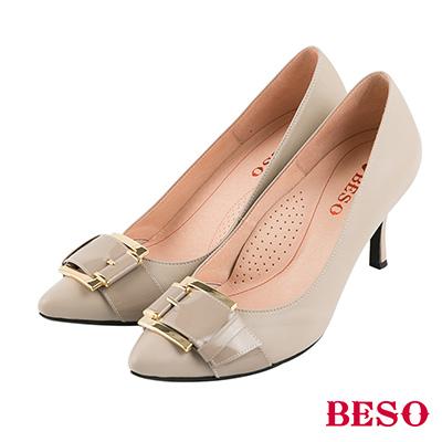BESO 氣勢典雅 鏡面全真皮方釦尖頭高跟鞋~灰