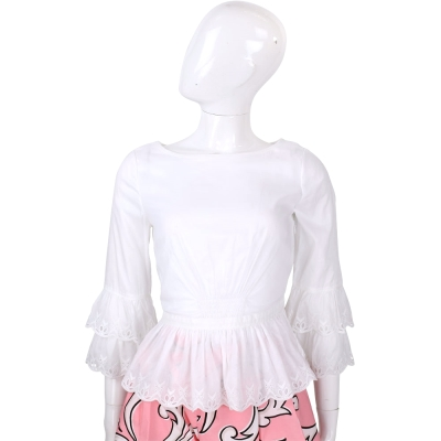 TORY BURCH 白色蛋糕袖襬織花滾邊上衣