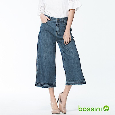 bossini女裝-牛仔七分寬褲靛藍