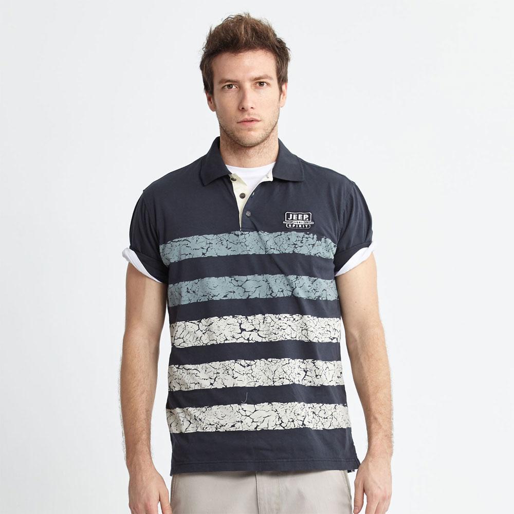 Jeep 條紋POLO衫爆裂藍