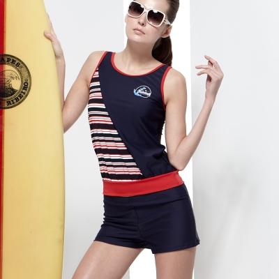 泳裝 兩件式 橫紋二截式女泳裝 沙兒斯