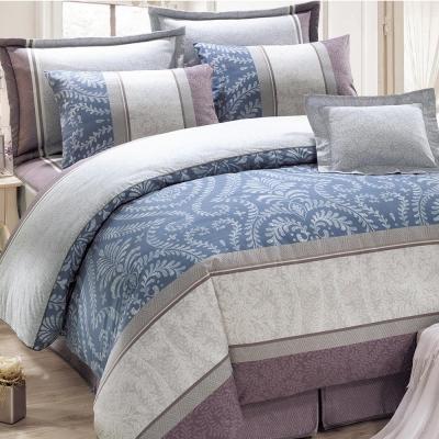 鴻宇HongYew 100%精梳棉 媞娜花園 藍 雙人七件式兩用被床罩組
