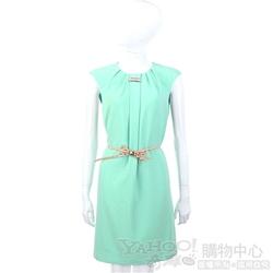 CLASS roberto cavalli 薄荷綠色抓褶無袖洋裝(不含腰帶)