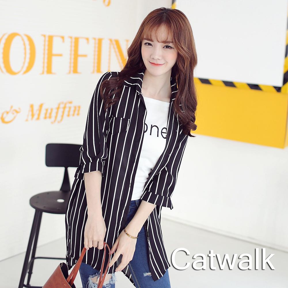 襯衫 直紋寬版前短後長襯衫(黑)-Catwalk