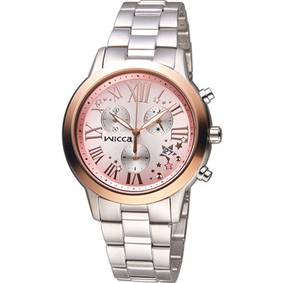 WICCA 璀璨時刻計時腕錶(BM1-237-91)-粉x玫瑰金框/36mm