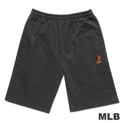 MLB-巴爾的摩金鶯隊繡印花純棉運動短褲-深麻灰(男)