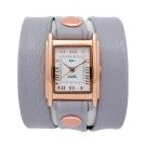 La Mer Collections  灰色皮革錶帶玫瑰金色錶框-23mm