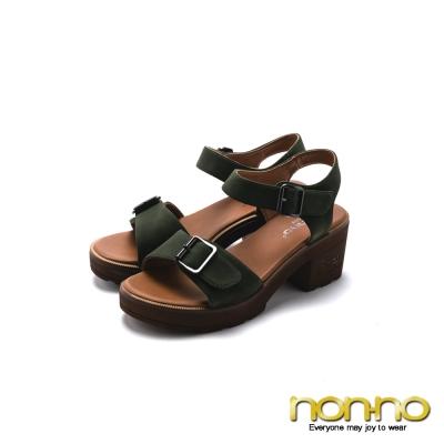 nonno 極簡率性 素色高跟涼鞋-綠