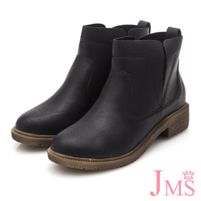 JMS-簡潔素面線條側開口工程短靴-黑色