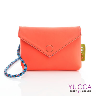 YUCCA - 防潑水尼龍磁扣側背包-螢光橘色 D012213