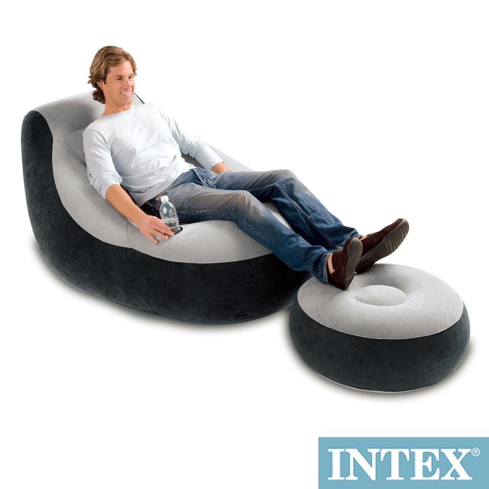 INTEX《懶骨頭》單人充氣沙發椅附腳椅-灰色 (68564)