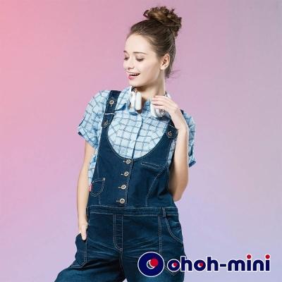 ohoh-mini 孕婦裝 U型雙肩帶連身單寧褲