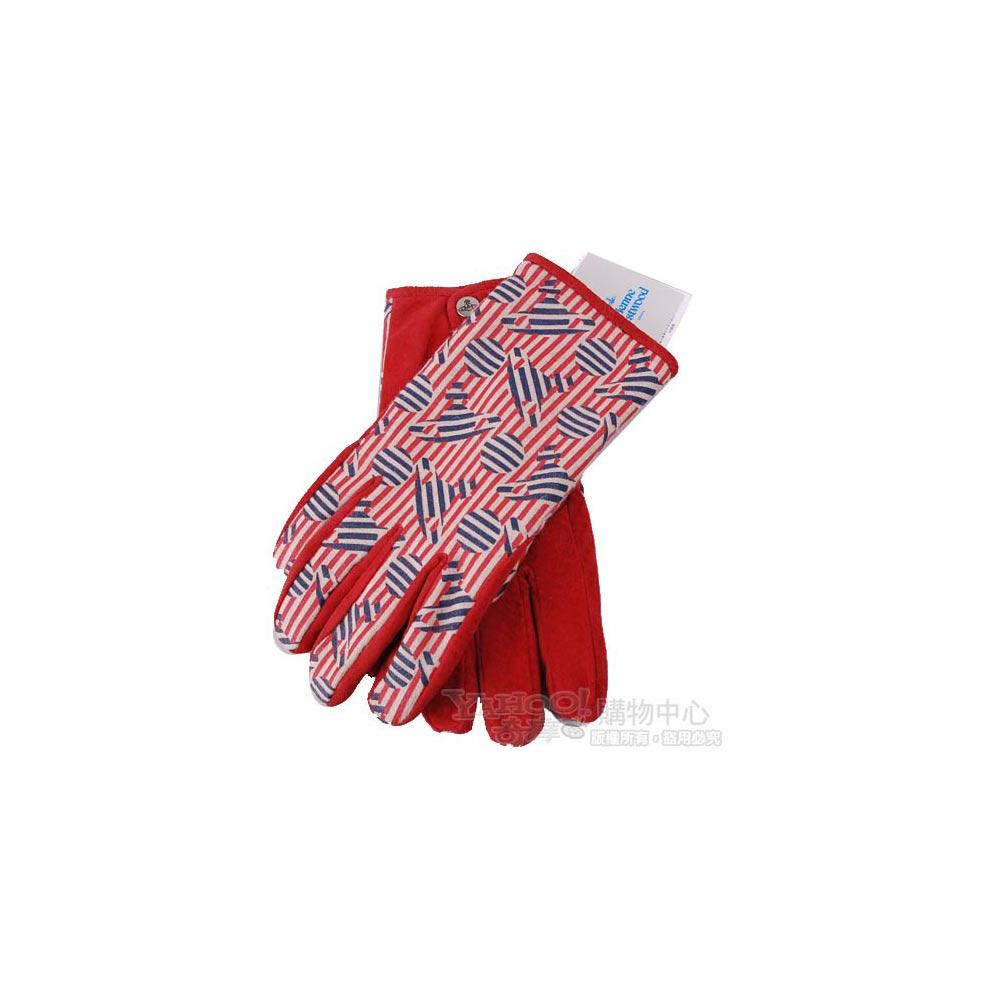 Vivienne Westwood 繽紛行星LOGO豚革造型手套(紅卡其)