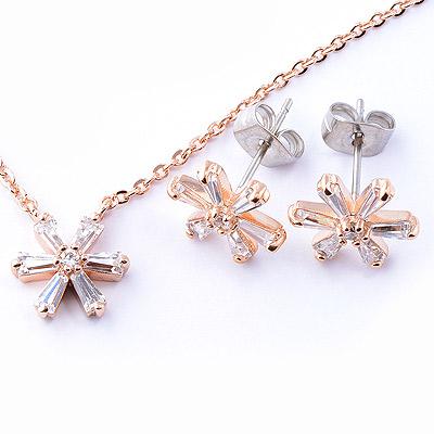 【山本美樹】瑪格麗特 白色小花奧地利水晶項鍊針式耳環套組(共兩色)