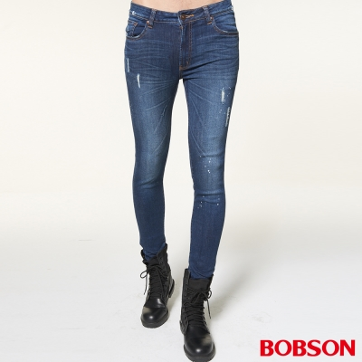 BOBSON 男款噴漆磨破大彈力深藍窄管褲