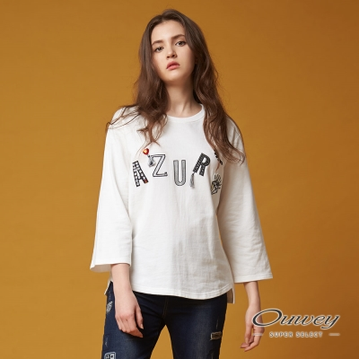 OUWEY歐薇 時尚俏皮字母上衣(白)