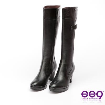 ee9 MIT經典手工~低調簡約異材質併接百搭素面粗跟長筒靴*黑色
