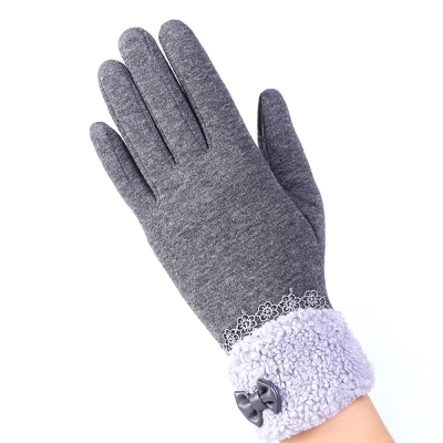 幸福揚邑-防風加絨觸控騎車開車保暖棉手套-可愛絨毛-灰色