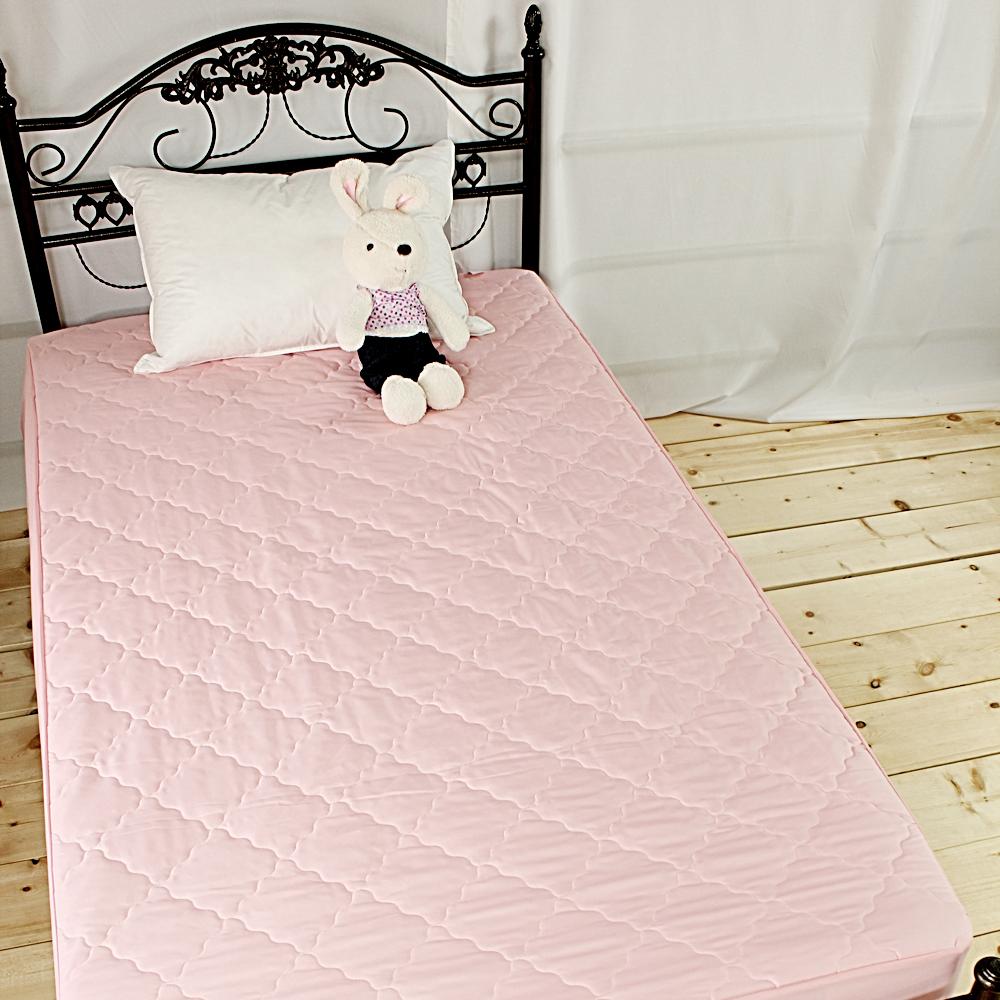 bedtime story 超Q果凍色保潔墊-甜心粉-單人加大3.5尺-床包式