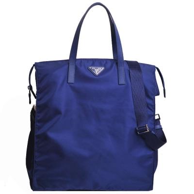 PRADA VELA 經典鐵牌LOGO尼龍手提/斜背兩用購物包(皇家藍)