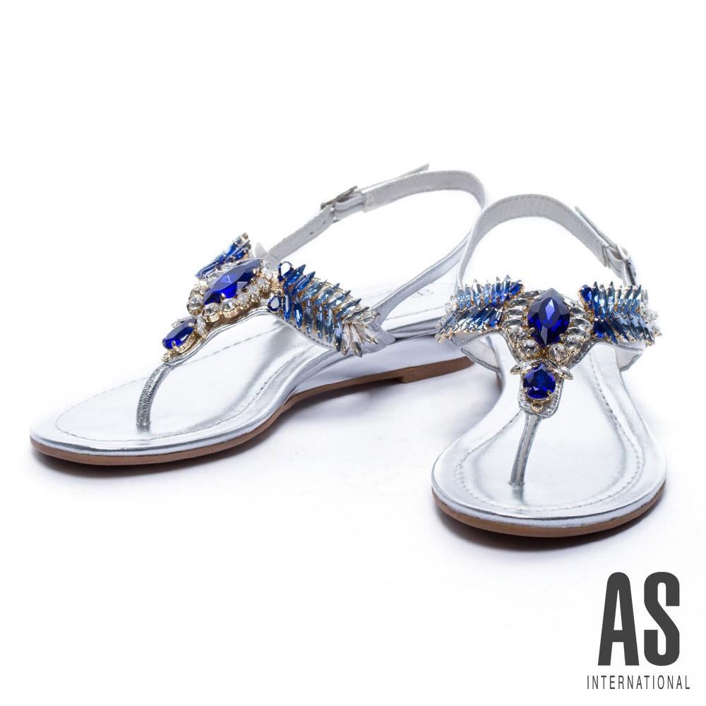 涼鞋 AS 華麗寶石水鑽T字羊皮厚底涼鞋-銀