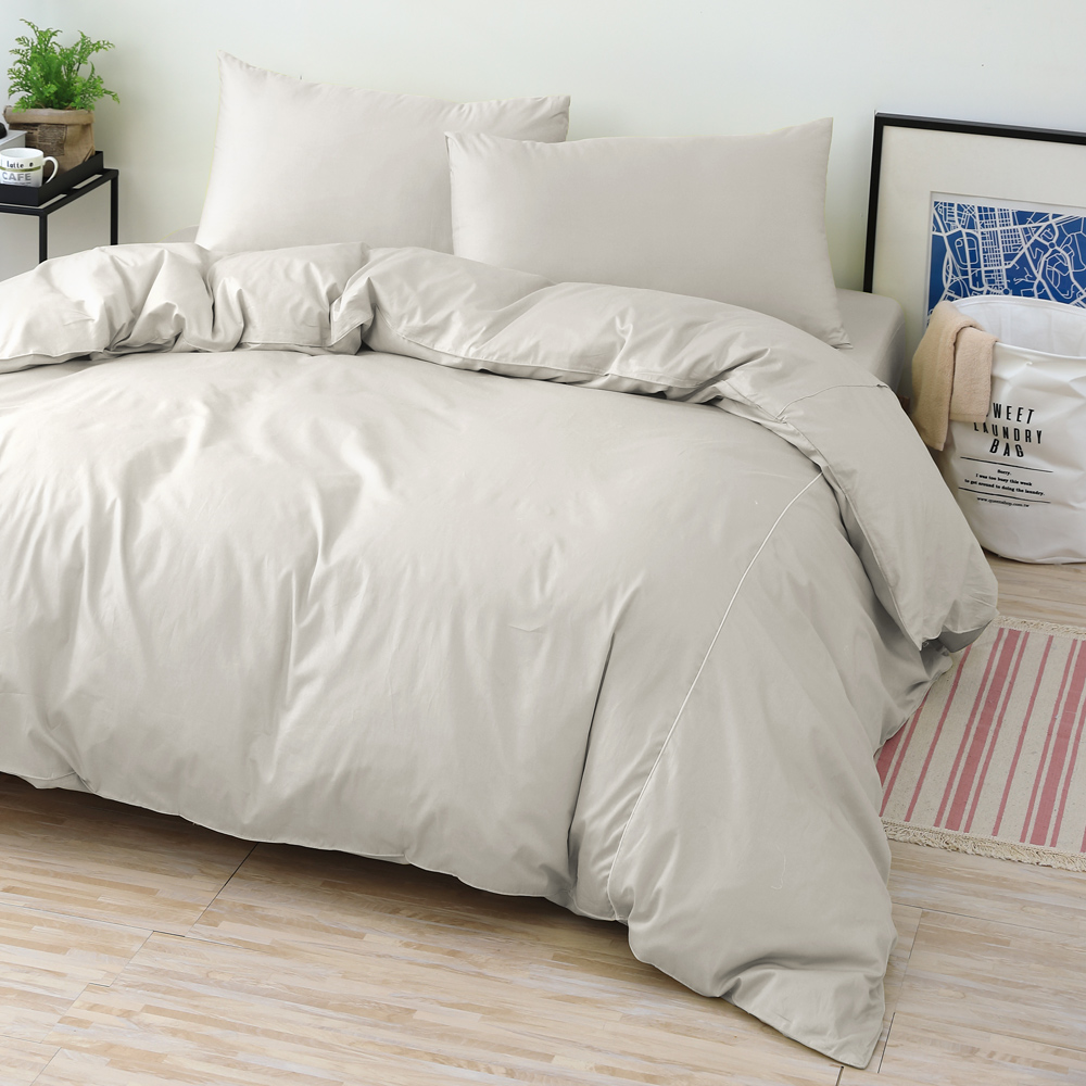 GOLDEN-TIME-純色主義-200織紗精梳棉-薄被套(暖灰-135x195 cm)