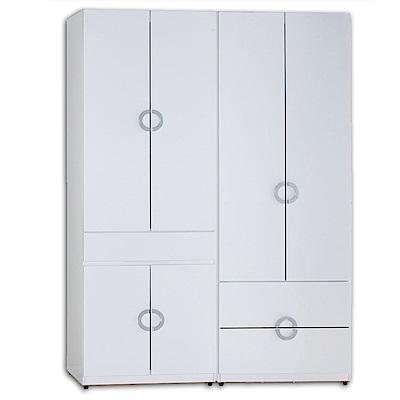 AT HOME-凱倫4.6尺白色兩件組合衣櫃[中抽掀鏡+二抽](140*54*197cm)