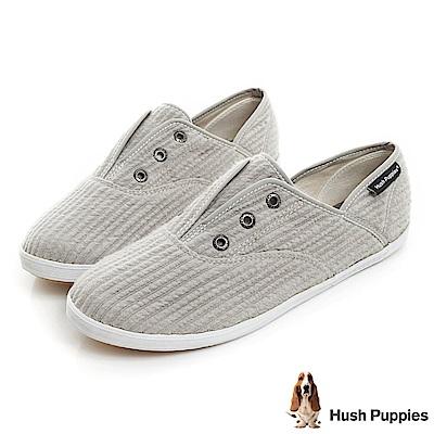 Hush Puppies 簡約車棉咖啡紗懶人帆布鞋-灰色