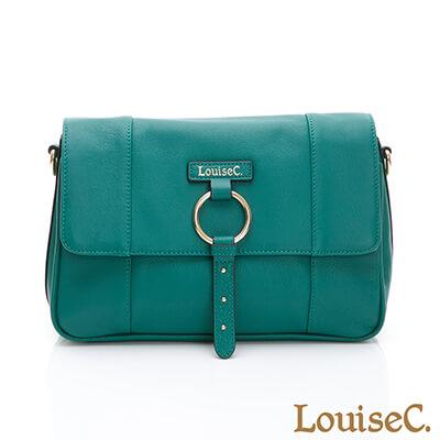 LouiseC. 義大利牛皮經典方型斜背包-草綠色-03C01-0056A08