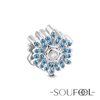 SOUFEEL索菲爾 925純銀珠飾 藍色雪花 串珠