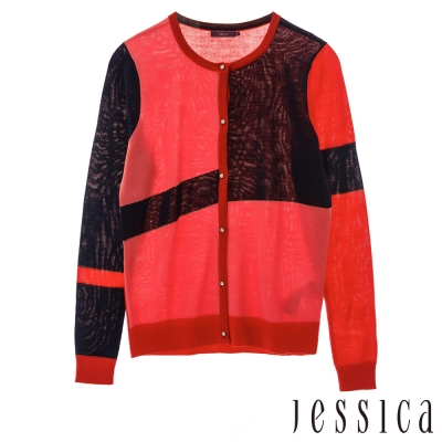 JESSICA-Ann 撞色復古幾何紋針織外套(紅)