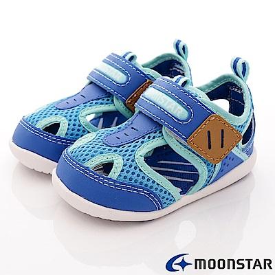 日本月星頂級童鞋 護趾機能涼鞋 BEI75藍(寶寶段)