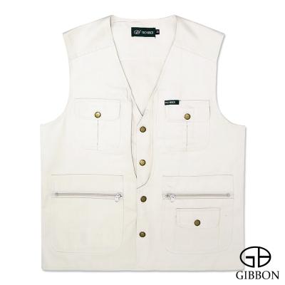 GIBBON 經典樂活素色多口袋背心‧米白L~4L