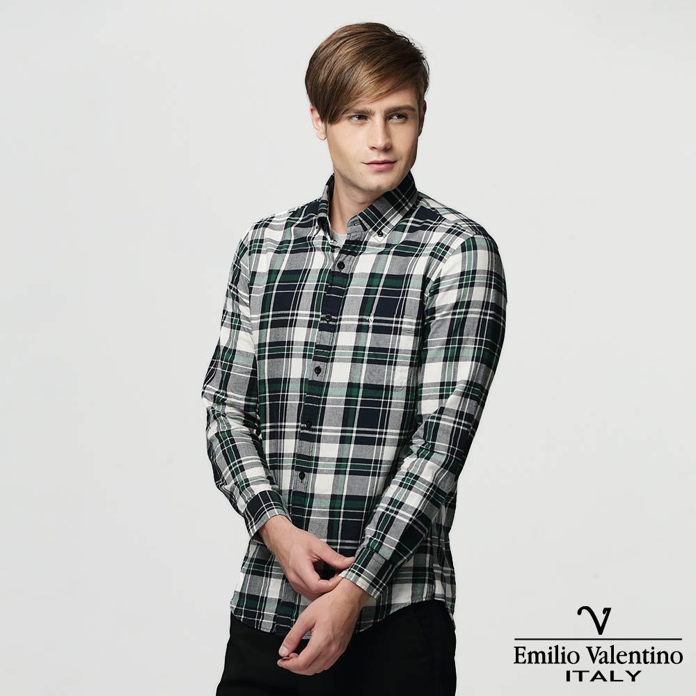 Emilio Valentino 范倫提諾水洗格紋襯衫-灰綠