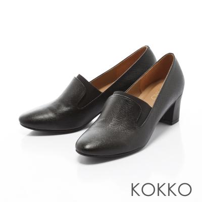 KOKKO-質感女紳牛皮鬆緊織帶粗跟鞋-率性黑