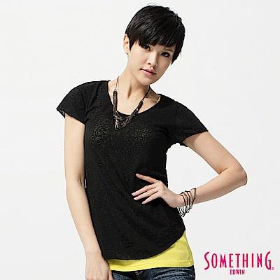SOMETHING T恤 燒花圓領T恤-女-黑色