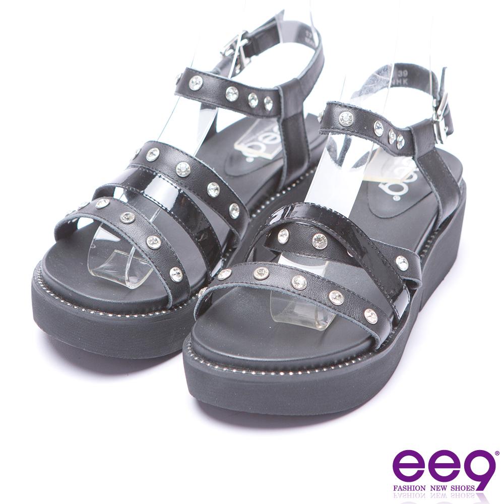 ee9 率性焦點靚亮鑽飾厚底涼鞋-黑色