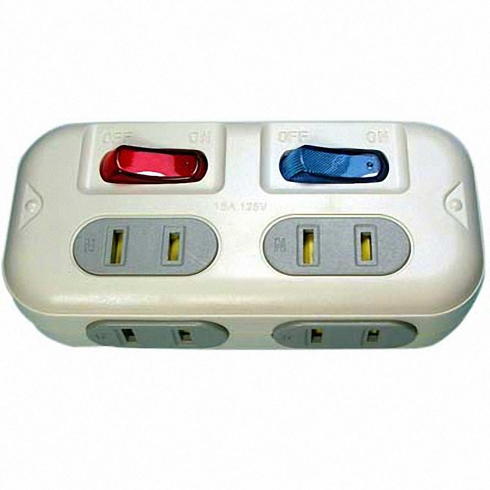 高容量 分接式插座 2孔4座2開關 3入