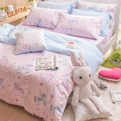 OLIVIA   夢幻樂園 粉  雙人床包枕套三件組