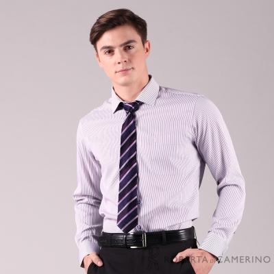 ROBERTA諾貝達 進口素材 台灣製 合身版 商務型男 緹花條紋長袖襯衫 紫色