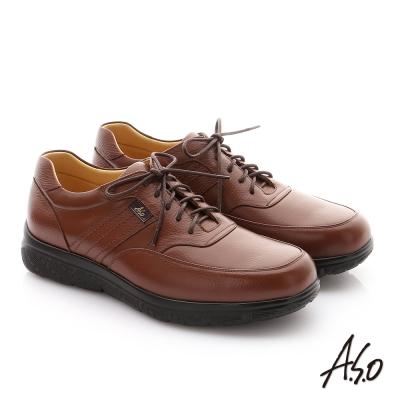 A.S.O  職場通勤 超能耐綁帶牛皮縫線紳士皮鞋 茶色