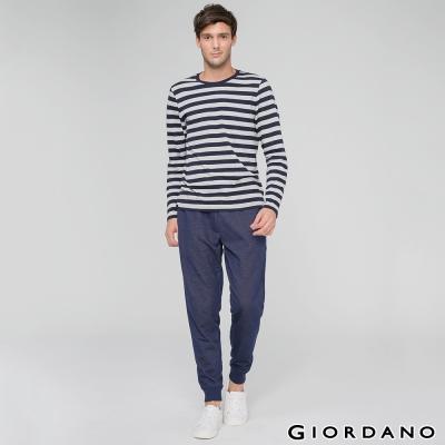 GIORDANO-男裝休閒抽繩束口褲-35-雪花靛藍色