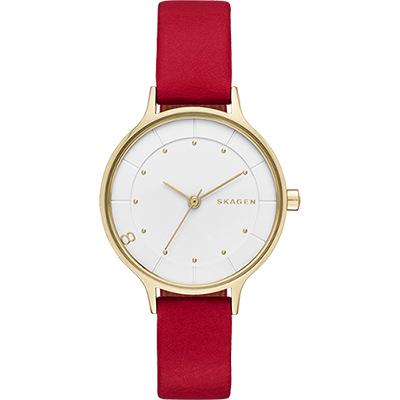 SKAGEN ANITA 全球限量特別版女錶-金框x紅/30mm