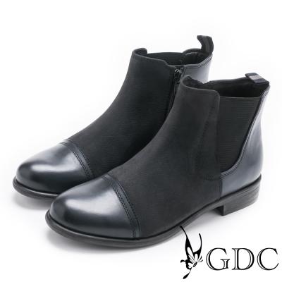 GDC-美式異材拼接帥氣牛皮低跟短靴-藍色