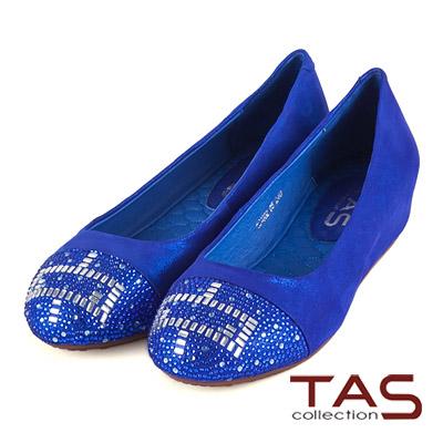 TAS-方型幾何圖騰水鑽內增高娃娃鞋-靚寶藍