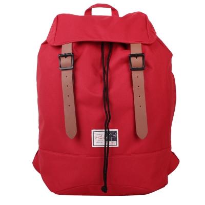agnes b. SPORT b.前翻蓋束口帆布磁扣後背包-紅色