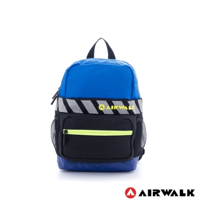 【AIRWALK】撞色輕量尼龍兒童後背包(藍黑)