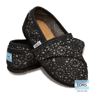 TOMS 花樣蕾絲懶人鞋-幼童款(黑)